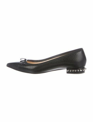 Christian Louboutin Embossed Spike Accents Ballet Flats Black