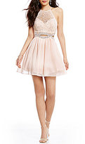 B. Darlin Foil Lace Bodice Beaded Infinity Waist Dress