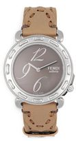 Fendi Sapphire Crystal & Stainless Steel Leather Strap Watch
