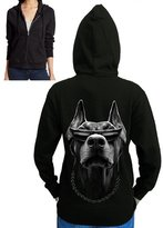 Interstate Apparel Inc Juniors Doberman Big Face Dog Womens Fleece Zipper Hoodie S-2XL (L (Juniors), )