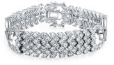 Bling Jewelry Art Deco Style CZ Bridal Tennis Bracelet 7in Rhodium Plated
