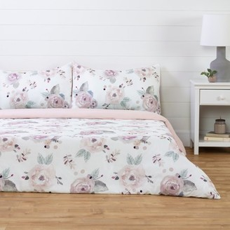 South Shore DreamIt White and Pink Duvet Cover Watercolor Floral, Multiple Sizes