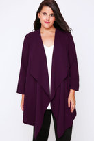 Yours Clothing Dark Purple Crepe Longline Waterfall Jacket