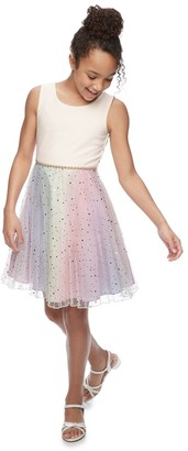 Bonnie Jean Girls 7-16 Embellished Mesh Rainbow Dress
