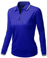 Women's basic style Front Zipper Collar Long sleeve Polo shirts DEEPBLUE Size XL