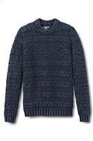 Classic Men's Drifter Acid Wash Cable Crewneck Sweater-Green Biscay Check