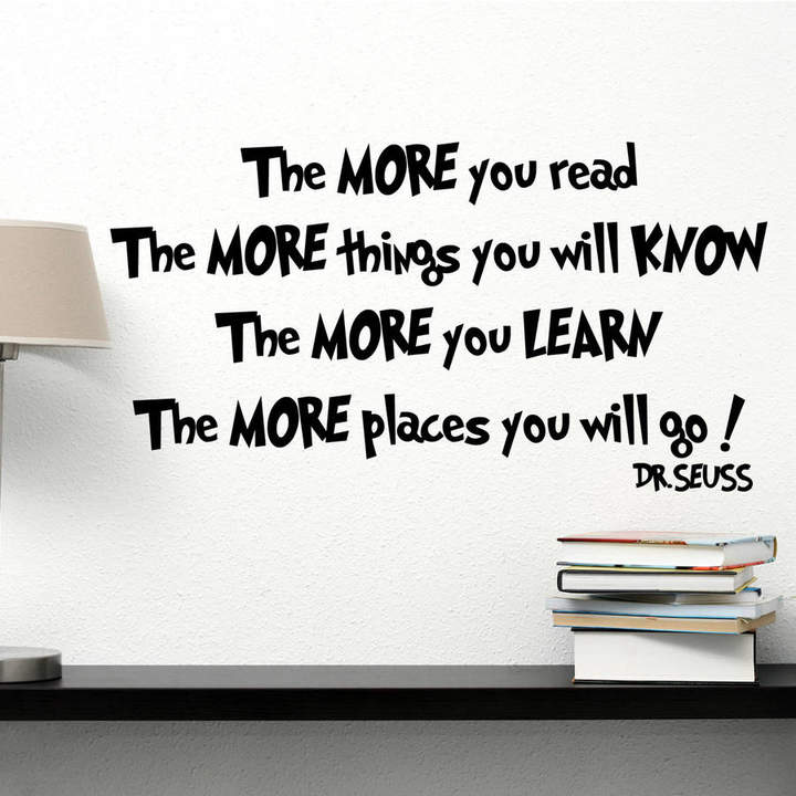 Dr. Seuss Wall Art Quotes & Designs By Gemma Duffy The More You Read Wall Sticker