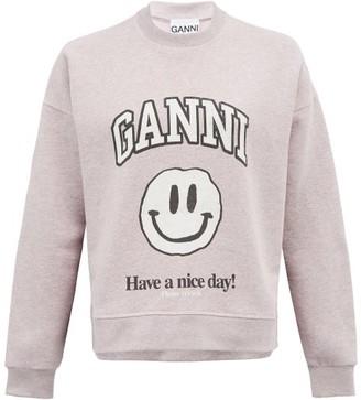 Ganni Smiling Face Recycled Cotton-blend Sweatshirt - Light Pink