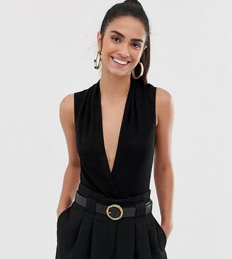 Flounce London wrap front plunge bodysuit in black