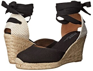 Soludos Tall Wedge Linen (Black) Women's Wedge Shoes