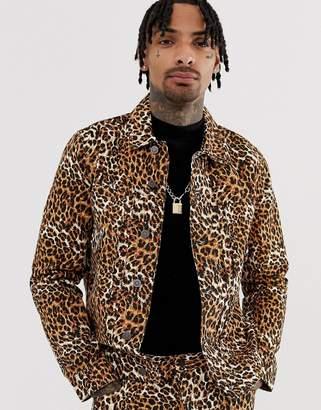 Asos Design DESIGN co-ord leopard print denim jacket-Tan