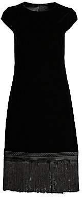 Elie Tahari Women's Velvet Fringe Trim Shift Dress - Size 0
