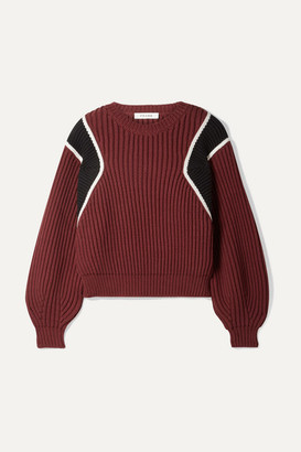 Frame Cropped Ribbed Cotton-blend Sweater - Burgundy