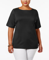 Karen Scott Plus Size Cotton Button-Shoulder T-Shirt, Created for Macy's