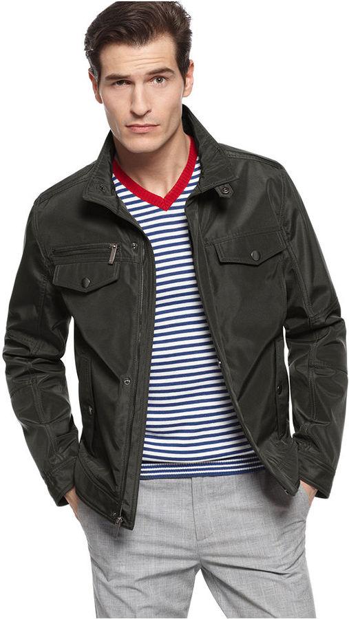 Kenneth Cole Reaction Jacket, Poly Bonded Moto Jacket