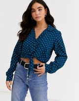 Pieces tie front long sleeve polka dot blouse