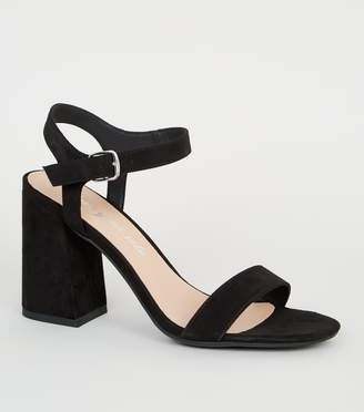 New Look Suedette Ankle Strap Flared Block Heels
