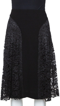 Joseph Black Stretch Crepe Pleated Lace Courtney Skirt M
