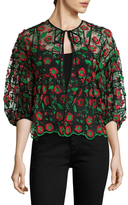 Anna Sui Poppy Trellis Embroidered Jacket
