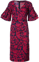 Oscar de la Renta ruffle sleeve brocade print dress