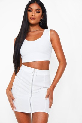 boohoo O Ring Panelled Zip Front Mini
