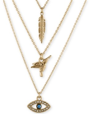 Rachel Roy Gold-Tone Trio Charm Necklace
