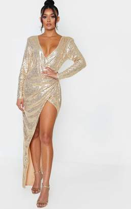 PrettyLittleThing Gold Sequin Long Sleeve Plunge Wrap Detail Maxi Dress