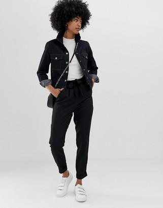 Asos Design DESIGN Woven Peg Pants with Obi Tie-Black