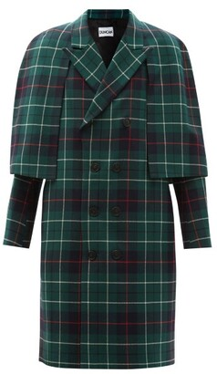 Duncan - The Edwin Caped Tartan Wool Coat - Green Multi