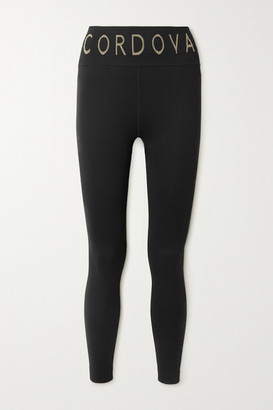 Cordova Signature Ribbed Intarsia Stretch-knit Leggings - Black