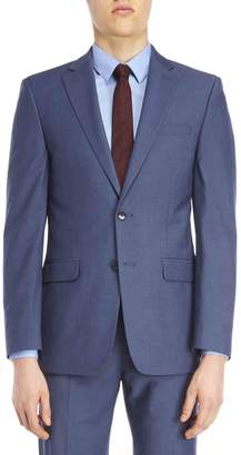 Calvin Klein Blue Sharkskin Stretch Slim-Fit Suit Jacket