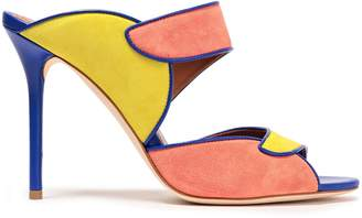 Malone Souliers Leather-trimmed Color-block Suede Sandals