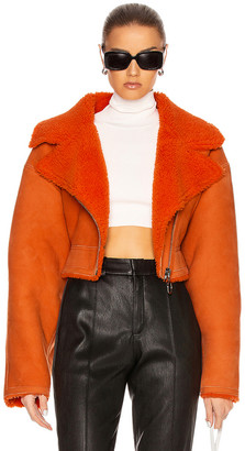 Off-White Shearling Jacket in Orange | FWRD