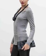 Yuka Paris Gray Ribbed Scoop Neck Sweater