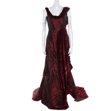 John Galliano Burgundy Velvet Trim Sleeveless Evening Gown M