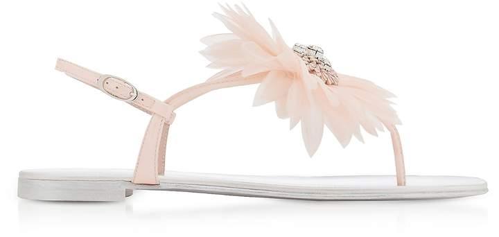 Giuseppe Zanotti Annemarie Pink Patent Leather Flat Sandals w/Flower