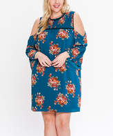 Flying Tomato Teal Floral Cutout Shift Dress - Plus