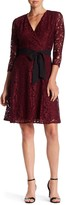 Ellen Tracy Lace Surplice Neck Dress