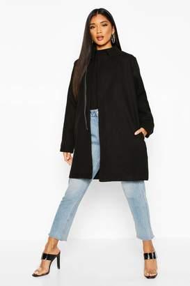 boohoo Contrast Zip Wool Look Coat