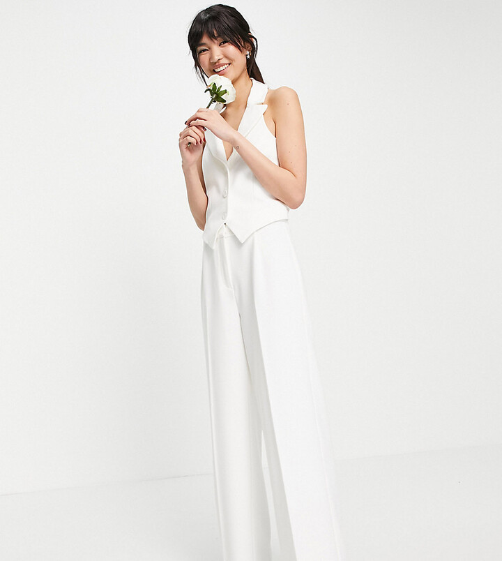 Thumbnail for your product : Y.A.S exclusive Bridal wide leg trouser co-ord in white