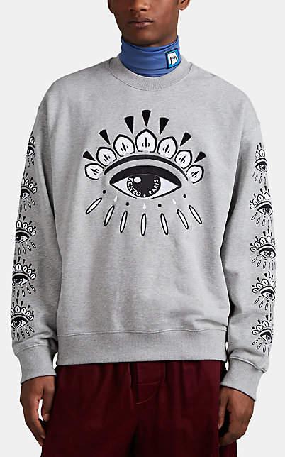 Kenzo Men's Eye-Embroidered Cotton Terry Sweatshirt - Light Gray