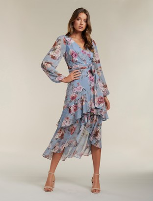 Forever New Fleur Long Sleeve Wrap Dress - Dusty Amethyst Bloom - 10