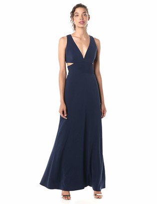 Laundry by Shelli Segal Women's Deep V Neck with Side Cuts Gown