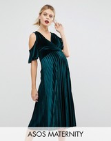 Asos Cold Shoulder Velvet Pleated Midi Dress