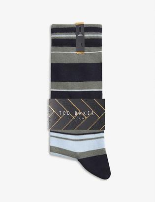 Ted Baker Striped cotton-blend socks