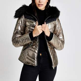 River Island Womens Brown metallic faux fur hood padded jacket