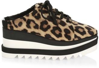 Stella McCartney Sneak-Elyse Leopard-Print Platform Wedge Sneaker Mules