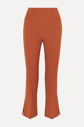 Roland Mouret Goswell Crepe Flared Pants - Dark brown