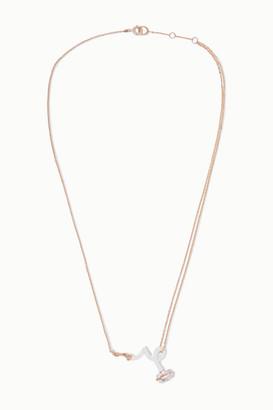 BEA BONGIASCA Baby Vine Rose Gold, Enamel And Rock Crystal Necklace - White
