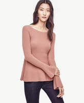 Ann Taylor Bell Sleeve Peplum Sweater